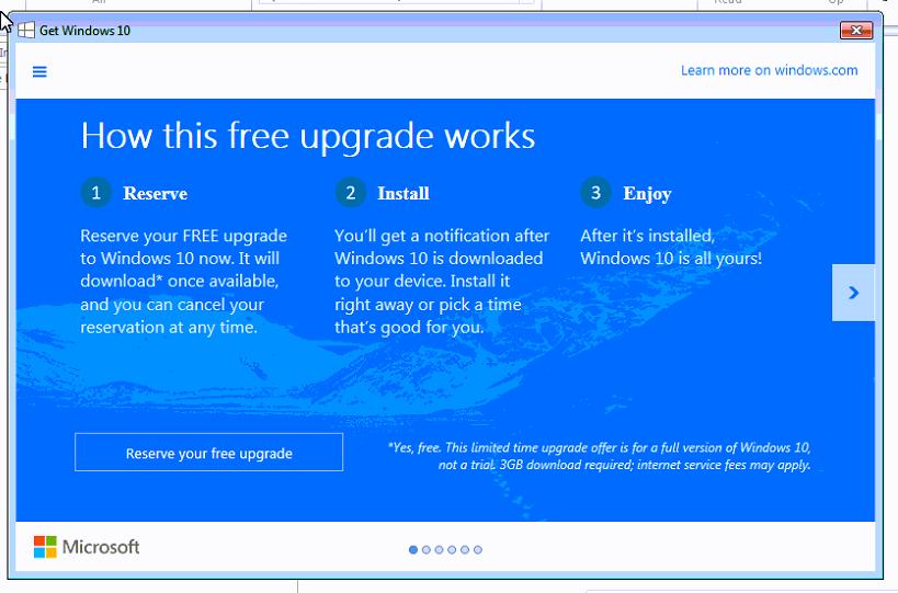 Windows 10 Upgrade Reservation Window